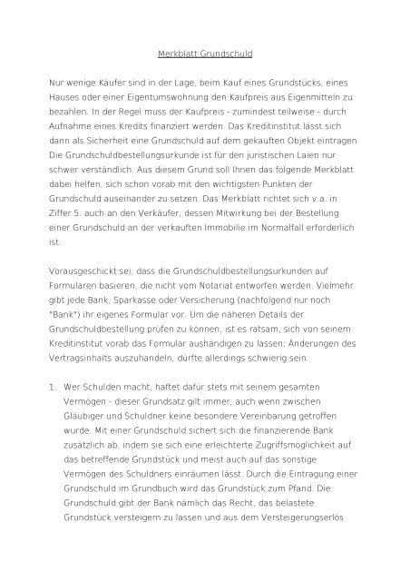 Merkblatt Grundschuld Notare Dr Kretzer Und Dr Raffel Saarlouis