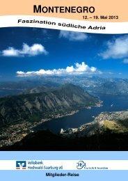 Reiseprospekt Montenegro - Volksbank Hochwald-Saarburg eG