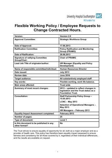 Flexible working policy - University Hospital Southampton NHS ...