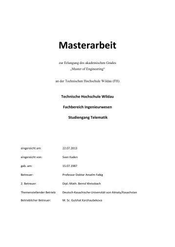 Masterarbeit - Telematik TH Wildau - Technische Hochschule Wildau