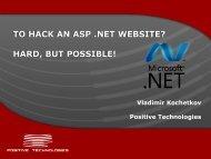 to hack an asp .net website? - Positive Technologies