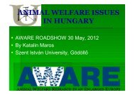 ANIMAL WELFARE ISSUES IN HUNGARY - Welfare Quality