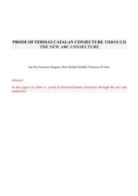 proof of fermat-catalan conjecture through the     - Nardelli - Xoom it