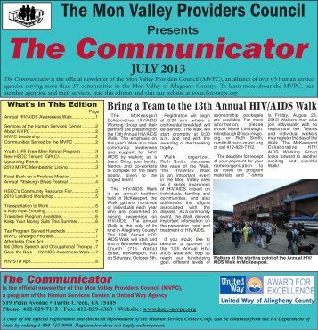 July 2013 Communicator - Human Services Center Corporation