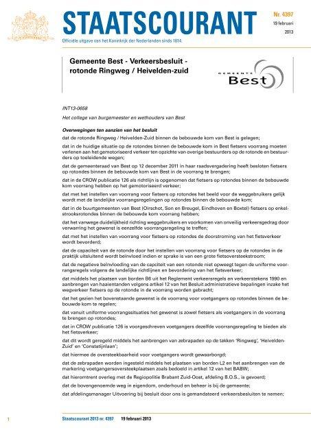 Gemeente Best - Verkeersbesluit - rotonde Ringweg / Heivelden-zuid