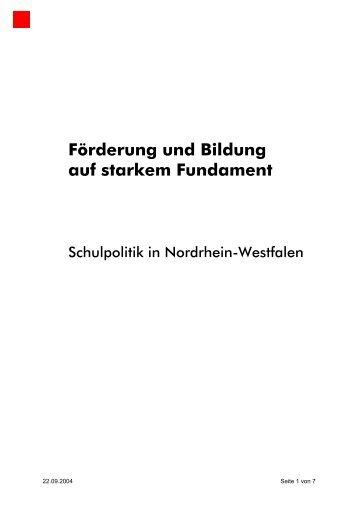Förderung und Bildung auf starkem Fundament - NRWSPD
