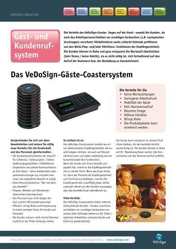 Das VeDoSign-Gäste-Coastersystem Gast- und Kundenruf- system