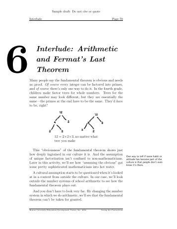 6Interlude: Arithmetic and Fermat's Last Theorem - Education ...