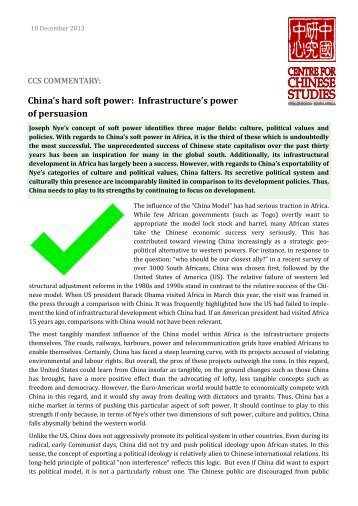 China's hard soft power: Infrastructure's power of persuasion