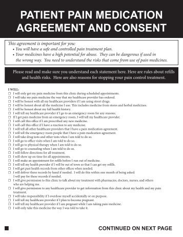 PATIENT PAIN MEDICATION AGREEMENT AND CONSENT