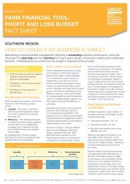 profit and loss budget fact sheet - Grains Research & Development ...