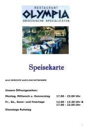 Speisekarte 2013 - Restaurant Olympia Inden-Lucherberg