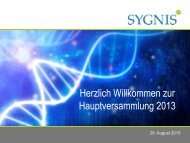 Verkürzte Gewinn- und Verlustrechnung Konzern 1 ... - SYGNIS AG