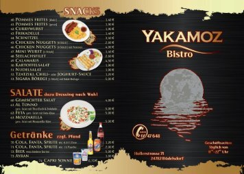 Bistro-Karte - Yakamoz Restaurant - Büdelsdorf