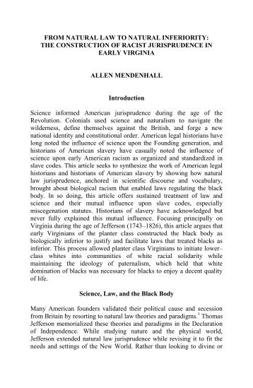 From Natural Law to Natural Inferiority