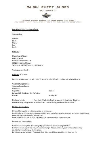 Bookings-Vertrag zwischen: - Musik Event Rügen - Tandem Disco