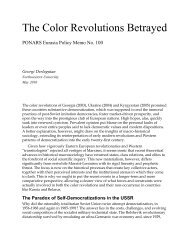 The Colored Revolution Betrayed - PONARS Eurasia