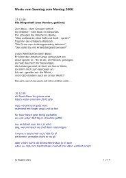 Worte vom Sonntag zum Montag 2006 - Hubert Zeis