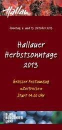 Flyer Hallauer Herbstsonntage 2013