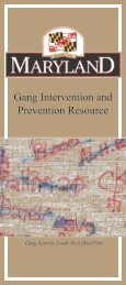 Maryland Gang Intervention and Prevention Resource