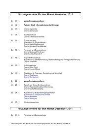 Sitzungstermine für den Monat November 2011 ... - Wolfsburg