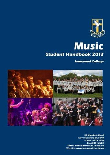 2013 Music Student Handbook - Immanuel College