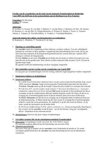 verslag raadsvergadering 7 mei 2009 - Gemeente Franekeradeel