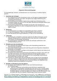 Allgemeine Seminarbedingungen für Veranstaltungen, Seminar ...