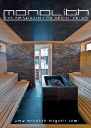 Genuss - Architektur - Genuss - Architektur - Monolith Fachmagazin