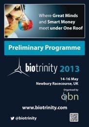 Preliminary Programme - BioTrinity 2013