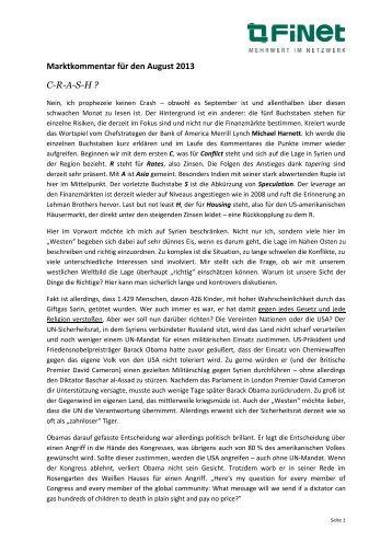 Marktkommentar Investment - bensch-vermoegensberatung.de