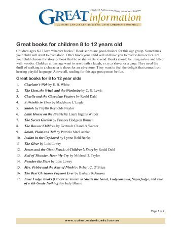 Great books for children 8 to 12 years old