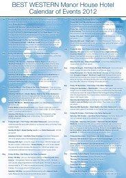 Calendar of Events 2012 - Compass Hotels Ltd