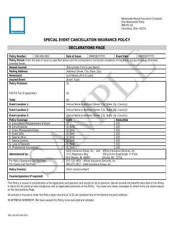 Event Cancellation Proposal Form - Beazley