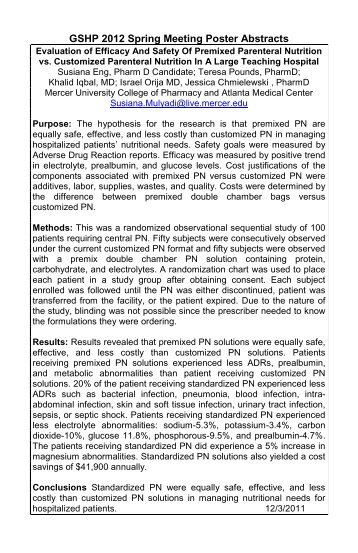 Poster abstracts - Georgia Society of Health-System Pharmacists