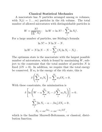 Statistical Mechanics, Thermodynamics, Fermions, Bosons