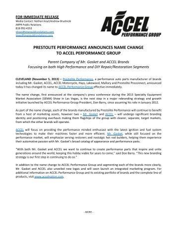 prestolite performance announces name change to accel ...