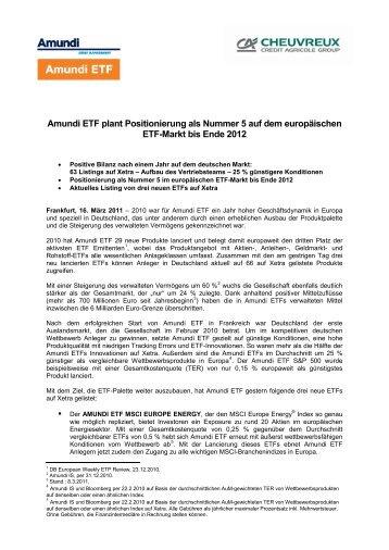 Communiqué de presse - Amundi ETF