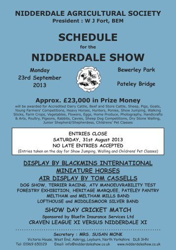 SCHEDULE NIDDERDALE SHOW - Nidderdale Agricultural Show