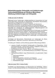 Weiterbildungsplan Orthopädie und Unfallchirurgie ... - Klinikfinder.de