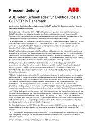 Pressemitteilung ABB liefert Schnelllader für ... - ABB Group