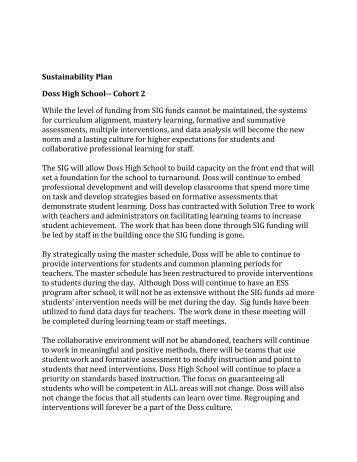 Sustainability Plan Doss High School-- Cohort 2 While the level of ...