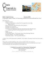2014 Baltic Capitals Cruise Itinerary - Columbia Crossroads
