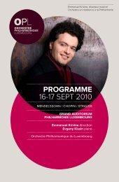 Das Abendprogramm - Orchestre philharmonique du Luxembourg