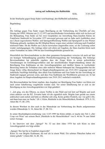 Antrag auf Aufhebung des Haftbefehls Sonja Suder 01.02.2013