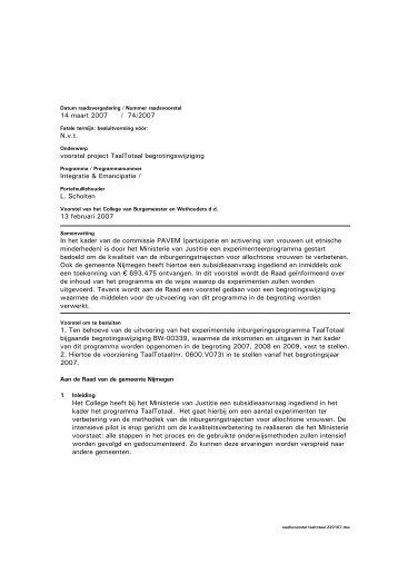 Raadsvoorstel 74/2007 met bijlagen - Gemeente Nijmegen