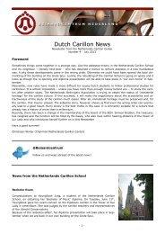 Dutch Carillon News. No.9 (July 2013) - Beiaardcentrum Nederland