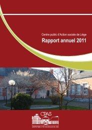 Rapport annuel 2011 - CPAS de Liège