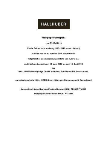 Wertpapierprospekt - Hallhuber