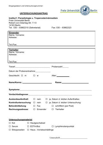 Untersuchungsantrag Parasitologie FU Berlin (pdf - Freie Universität ...